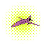 Fighter aircraft icon, comics style. Fighter aircraft icon in comics style on a white background Stock Photo