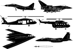 Fighter aircraft. Icon set - Illustration Stock Photo