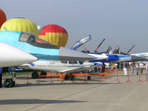 Fighter aircraft at MAKS exhibition Stock Photo