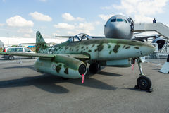 Fighter aircraft Messerschmitt Me 262 B-1a Schwalbe. Modern replica by Airbus Group. BERLIN, GERMANY - JUNE 02, 2016: Fighter aircraft Messerschmitt Me 262 B-1a Stock Photography
