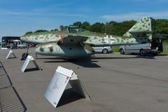 Fighter aircraft Messerschmitt Me 262 B-1a Schwalbe modern replica. BERLIN, GERMANY - MAY 21, 2014: Fighter aircraft Messerschmitt Me 262 B-1a Schwalbe modern Royalty Free Stock Photography