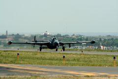 Fighter aircraft on runway Royalty Free Stock Photo