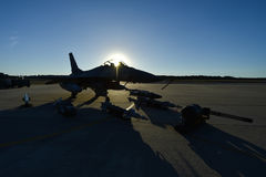 Fighter aircraft on the runway Royalty Free Stock Image