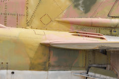 Fighter aircraft rusty fuselage detail Royalty Free Stock Photo