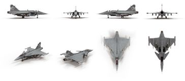 Fighter Aircraft Saab JAS 39 Gripen on white. 3D illustration. Fighter Aircraft Saab JAS 39 Gripen on white background. 3D illustration Stock Photography