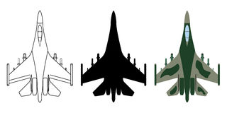 Fighter aircraft silhouette, cartoon, outline. Military equipmen. T set icon. Vector illustration Royalty Free Stock Image