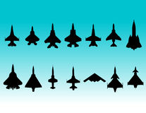 Fighter aircraft silhouettes. Vector illustration of various fighter aircraft silhouettes Royalty Free Stock Photography