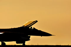 Fighter aircraft sunset Stock Photo