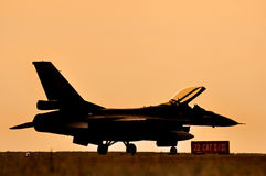 Fighter aircraft sunset Royalty Free Stock Images