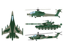 Fighter aircraft, tank, helicopter cartoon. Military equipment s Stock Images
