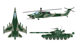 Fighter aircraft, tank, helicopter cartoon. Military equipment s Royalty Free Stock Image
