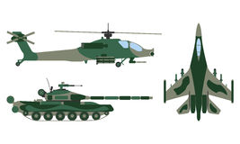 Fighter aircraft, tank, helicopter cartoon. Military equipment s Stock Photo