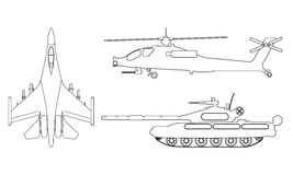 Fighter aircraft, tank, helicopter outline. Military equipment s. Et icon. Vector illustration Royalty Free Stock Images