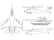 Fighter aircraft, tank, helicopter outline. Military equipment s. Et icon. Vector illustration Stock Photo