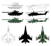 Fighter aircraft, tank, helicopter in silhouette, cartoon, outli Stock Photography