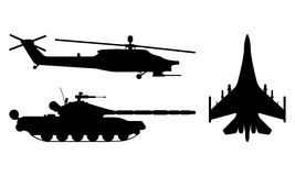 Fighter aircraft, tank, helicopter silhouette. Military equipmen. T set icon. Vector illustration Royalty Free Stock Photos