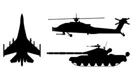 Fighter aircraft, tank, helicopter silhouette. Military equipmen. T set icon. Vector illustration Stock Photography