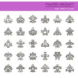 Fighter Aircraft. Thin Line and Pixel Perfect Icons Royalty Free Stock Image
