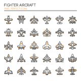 Fighter Aircraft. Thin Line and Pixel Perfect Icons Royalty Free Stock Photo