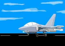Fighter at the airfield Royalty Free Stock Photo
