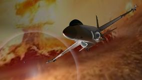 Fighter airplane. Escaping from explosions Royalty Free Stock Photography