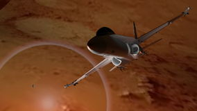 Fighter airplane excaping from Mars stock video footage