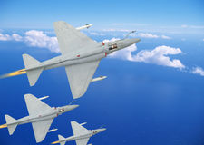 Fighter airplanes. Fighter airplane in the sky attacking the enemy Royalty Free Stock Photo