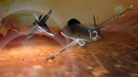 Fighter airplanes. Flying away from explosions Royalty Free Stock Photo