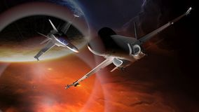 Fighter airplanes. Flying in the deep space Royalty Free Stock Photography