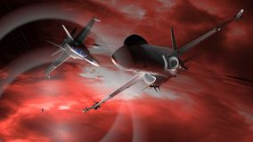 Fighter airplanes. Flying in the deep space Royalty Free Stock Photo