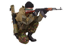 Fighter with ak-47 rifle Royalty Free Stock Images