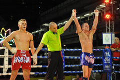 Muaythai World Championships. A fighter is announced the winner after competing in a match in the WMF Muaythai World Championships at the Thai National Stadium Stock Images
