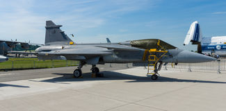 Fighter, attack and reconnaissance aircraft Saab JAS 39 Gripen. Stock Photo