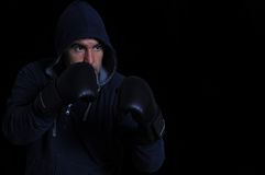 Fighter on black background Stock Photos
