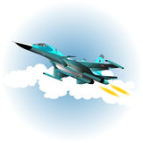Fighter bomber. In the sky. Vector illustration Royalty Free Stock Photo
