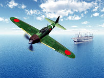 Fighter Bomber and Aircraft Carrier. Computer generated 3D illustration with a Japanese Fighter Bomber and a Japanese Aircraft Carrier from the second world war Stock Images