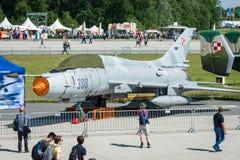 Fighter-bomber Sukhoi Su-22UM3K. Polish Air Force. Stock Photos