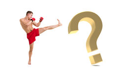 Fighter boxing with gold question mark. Young fighter boxing with gold question mark against isolated white background Stock Image