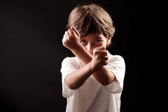 Fighter boy ready to fight Stock Images
