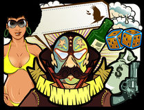 Fighter composition with afro american bikini girl. Bottle dice bird money bag and gun Stock Photos