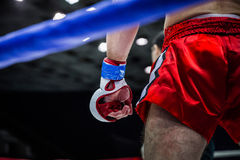 Fighter in corner of  ring Royalty Free Stock Photo