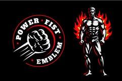 Fighter emblem illustration on dark background. Fighter emblem design illustration on dark background Royalty Free Stock Image