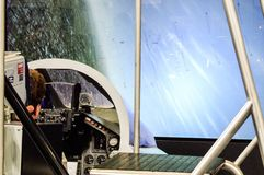 Panavia Tornado fighter flight simulator presented on air fair. Pilot sitting in the cockpit of fighter flight simulator. Photo taken during air fair in 2009 Stock Image