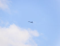 fighter flying in the sky. Military aircraft of the 4th generation Royalty Free Stock Photography