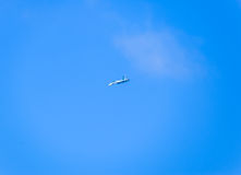 Fighter flying in the sky. Military aircraft of the 4th generation Royalty Free Stock Images