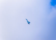 Fighter flying in the sky. Military aircraft of the 4th generation Stock Photography
