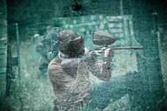 Fighter in the game of paintball Royalty Free Stock Photos