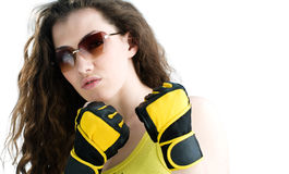Fighter girl Stock Images