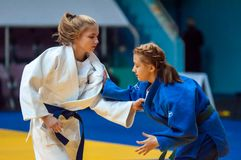 Fighter girl in Judo Stock Photo