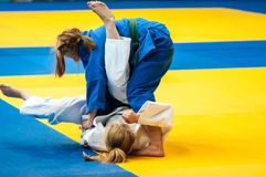 Fighter girl in Judo Stock Photography